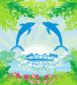 Tropical island paradise with leaping dolphins — Stock Vector