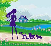 Girl walking hundar — Vecteur