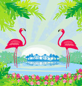 Illustration with green palms and pink flamingo — Stock Vector