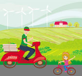 Pizza delivery man on a motorcycle and sweet little girl on bike — Vector de stock