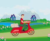 Pizza delivery man on a motorcycle — Stock vektor