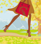 Autunno shopping, primo piano, scarpe e borsa shopping — Vettoriale Stock
