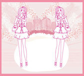 Doodle fille fashion shopping - abstraite carte rose — Vecteur