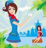 Hôtesse de l'air magnifique avec ticket, carte abstraite avec palm quitter — Vecteur