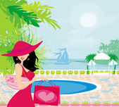 Elegant woman on tropical vacation — Stock Vector