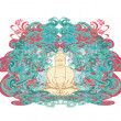 Vettoriale Stock : Vector of Chinese Traditional Artistic Buddhism Pattern