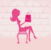Fashion girl silhouette on shopping in shoe shop — Stock Vector