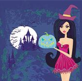 Sorcière halloween permanent avec citrouille sur obscurité château bleu — Vecteur