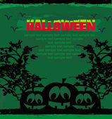 Broken halloween pumpkin on grunge green background vector illus — Vecteur