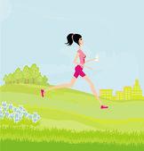 Jogging slim girl in the park in summer  — Wektor stockowy