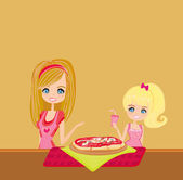 Housewife serving pizza for happy her doughter  — Stock Vector