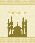 Ramadan background - mosque silhouette illustration card — Stock vektor