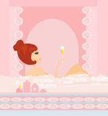 Pretty girl in bath with champagne enjoying elegant spa — Stock Vector