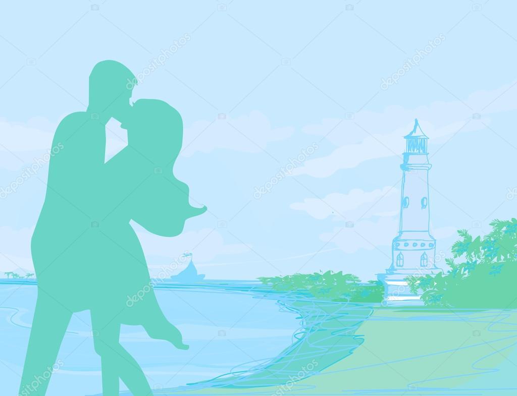 剪影情侣接吻热带海滩上