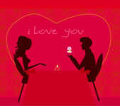 Romantic man silhouette proposing with an engagement ring to his — Stock Vector
