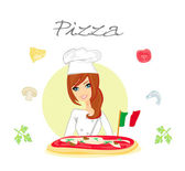 Beautiful woman chef serving pizza — Stock Vector