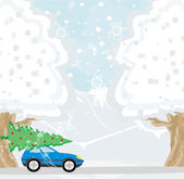 Car with a christmas tree on the roof  — Stock Vector