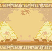 Traditional Horus Eye and camel caravan in wild africa landscape — Wektor stockowy