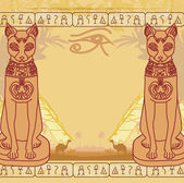 Stylized Egyptian cat , abstract grunge card — Stock Vector
