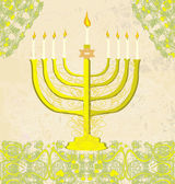 Hanukkah Greeting Card. — Stock Vector