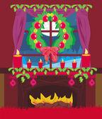 Módní interiér obývacího pokoje s vánoce — Stock vektor
