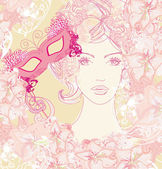 Beautiful woman with carnival mask, abstract floral portrait — ストックベクタ