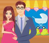 Shopping couple awaiting baby — Stock Vector