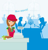 Beautiful saleswoman at the bar — Stock Vector