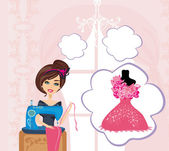 Girl with sewing machine,  dreams of a beautiful dress — Stockvektor