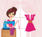Girl with sewing machine  — Stock Vector