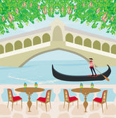 Cafe in Venice, gondola in the background — Stock Vector