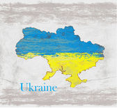 Ukraine Grunge map with the flag inside. — Stock Vector