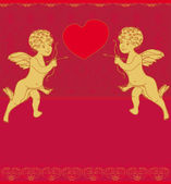 Happy valentine's day card with cupid — Vector de stock