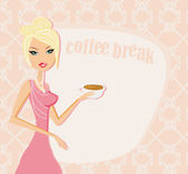Beautiful lady drinking coffee card — Stock Vector