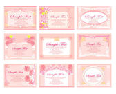 Pink business floral card set — Stock Vector