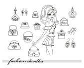Moda shopping icono doodle conjunto — Vector de stock