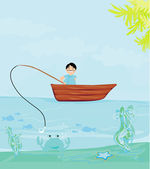 Fisherman catching the fish  — Stock Vector