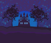 Grungy Halloween background with haunted house — Stock Vector