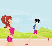 Yaz aylarında kız parkta koşu — Stok Vektör