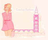 Beautiful woman and Big Ben in London card — Stock Vector