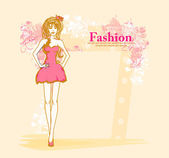 Trendy girl in a short dress on a floral background — Stock Vector