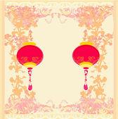 китайский новый год с картой фонари, вектор — Cтоковый вектор