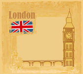 Grunge banner with Big Ben in London — Stock Vector