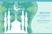 Ramadan bakgrund - moskén silhuett vektor kort — Stockvektor