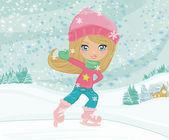 Little girl on skates on winter rural landscape — Stock Vector