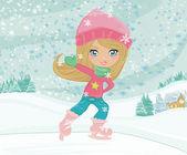 Little girl on skates on winter rural landscape — Stock Vector