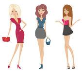 Chicas de compras de moda — Vector de stock