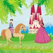 Prince riding a horse to the princess — Stock Vector