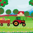 Landscape with apple trees and man driving a tractor with a trai — Stockvector