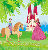 Prince riding a horse to the princess — Vector de stock
